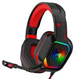 ZIUMIER Z30 Gaming Headset for PS4, PS5, Xbox One, PC, Wired Over-Ear Headphone with Noise Isolation Microphone, RGB Flowing LED Light, 7.1 Surround Sound, Red