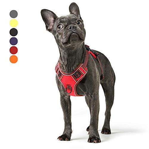 Hundegeschirr Grosse Mittelgroße Hunde Verstellbares Reflektierendes Hunde Geschirr No Pull, Brustgeschirre für Hunde mit Post-Positiver D-Ringschnalle Rot M