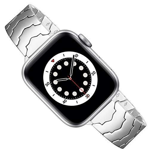 AOYU Compatible con Apple Watch Correa 38 mm 40 mm 42 mm 44 mm, metal único con forma de estrella de repuesto compatible para iWatch Series 6/5/4/3/2/1, SE (38 mm 40 mm, plateado).