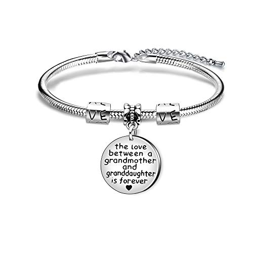 KENYG The Love Between A Grandmother and Granddaughter is Forever Round Shape Pendant Snake Bracelet Bangle