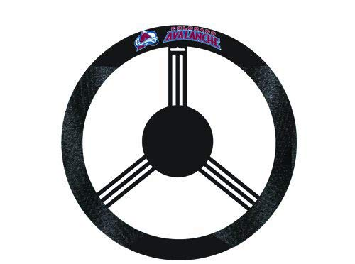 Fremont Die NHL Colorado Avalanche Poly-Suede Steering Wheel Cover, Fits Most Standard Size Steering Wheels, Black/Team Colors