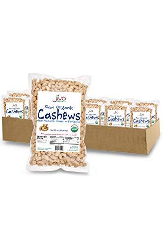 Jiva Organics Raw Organic Cashews (Whole) 2 Pound Bag PACK OF 12