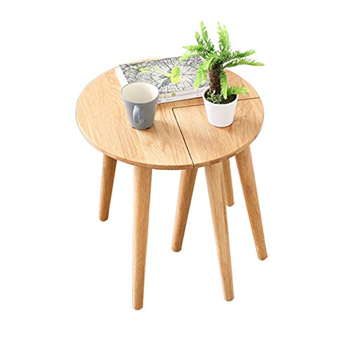 Jia He Mobili per il tempo libero Tavolo in legno massello, Tavolino rotondo in rovere sbiancato, Tavolino da caffè comodino semplice, Mobili da salotto con gambe a triangolo, Tavolo che può essere se