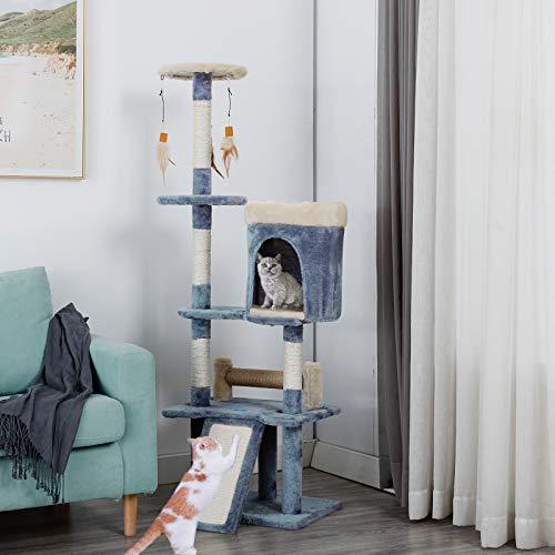 JR Knight Katzenbaum groß Kratzbaum Stabiler Kletterbaum für Katzen mit Sisal-Kratzstangen Katzenkratzbaum mit Kratzbrett Kuschelhöhle Interaktives Spielzeug