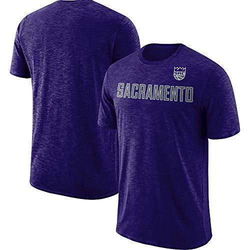 Gli Uomini della T-Shirt NBA Sacramento Kings Asciugatura Rapida T-Shirt di Basket Maschile in Esecuzione Maniche Corte Jersey Sport Estate Purple-XXL
