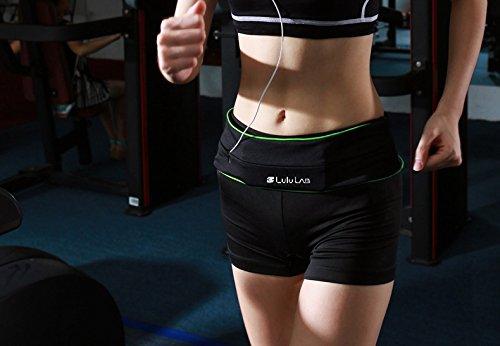 (LuluLAB) ランニング ウエストポーチ チューブ ベルト ジョギング サイクリング (ブラック/グリーン, M)
