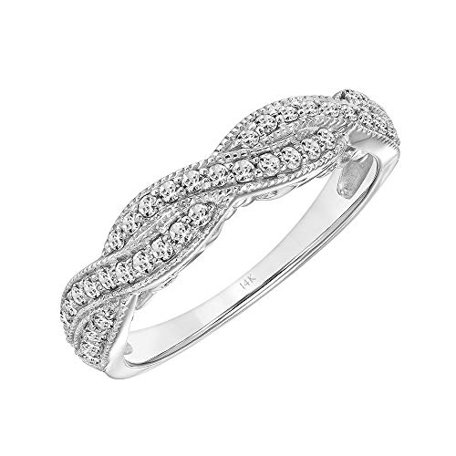 Brilliant Expressions 14K White Gold 1/3 Cttw Conflict Free Diamond Double-Twist Fashion Anniversary Band (I-J Color, I2-I3 Clarity), Size 6.5