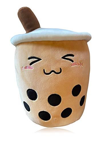 TENGOKU Bobaholic Kawaii Boba Tea Plushie Authentic Tengoku Brand Cute Stuff Japanese Decor Boba Plush Super Soft Anime Room Decor Squishy Toy ( Happy Boba) (15', Lucky Boba)