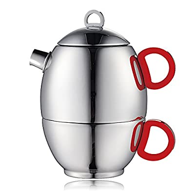 Minos Stunning Stainless Steel Teapot And Cup For One Set With Silicon Handle - 8.5 OZ Liquid Capacity - Hand-polished, Scratch, Wear and Tear Resistant Best for Serving Tea and Coffee