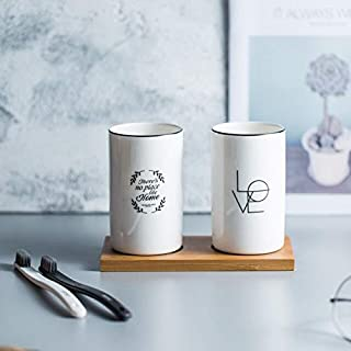 ANH19 Bathroom Tumblers - Bamboo Ceramics Toothbrush Holders Cups Tumblers Brushing Cup Container Couple Lovers Toothpaste Holder Bathroom Accessories Set