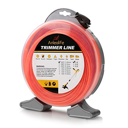 A ANLEOLIFE 1-Pound Commercial Square .065-Inch-by-370-ft String Trimmer Line Donut,with Bonus Line Cutter, Orange