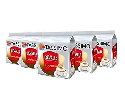 TASSIMO Gevalia Cappuccino Coffee Capsules Pods T-Discs Pack of 5, 40 Drinks