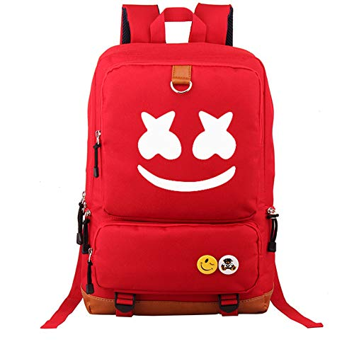 USAMYNA School Backpack for Teens Marshmello Girls Bookbag Boys School Bag Man Travel Daypack 21inch Large Capacity and Durable Rucksack for Kids (Red)