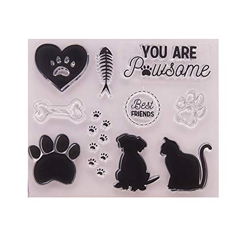 4.3 by 5.9 Inches Cats Dog Foot Prints Friends Letters Clear Rubber Stamps for Scrapbooking Card Making Halloween Christmas Stamps