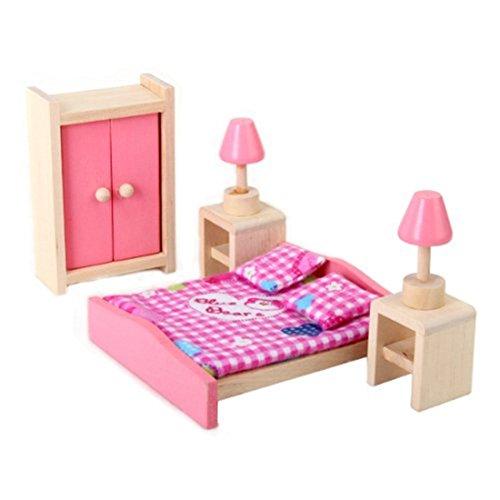 WOVELOT Dormitorio de ninos Mini Muebles de casa de muneca de Madera...