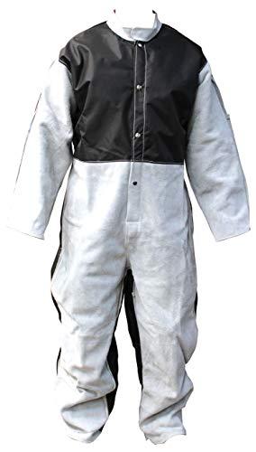 Optimaler Sandstrahler-Anzug, Schutzanzug - Sandstrahlanzug, Overall in durchdachter Kombination aus echtem, besonders widerstandsfähigem Leder und speziellem Techno-Stoff - Made in Germany