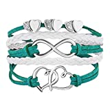 emerald and white bracelet with silver hearts