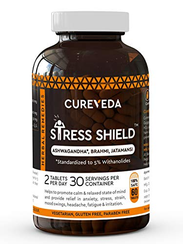 Cureveda™ Herbal Stress Shield Tablets- Support for Stress, Fatigue and Tension (Gold standard Ashwagandha, Brahmi, Jatamansi- General Wellness- 60 Tablets