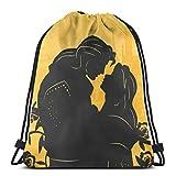 Bolso clásico con cordón de la belleza y la bestia gimnasio mochila bolsas de hombro deporte bolsa de almacenamiento para hombre mujer
