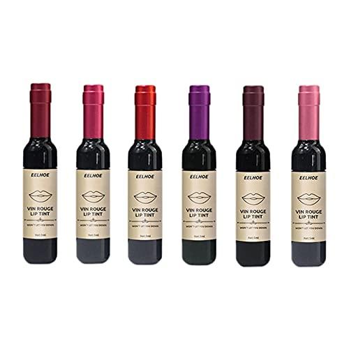 SM SunniMix Lápiz labial líquido vino tinto para mujer de larga duración, brillo de maquillaje, labio rosa bebé, resistente al agua, para mujeres regalo de San
