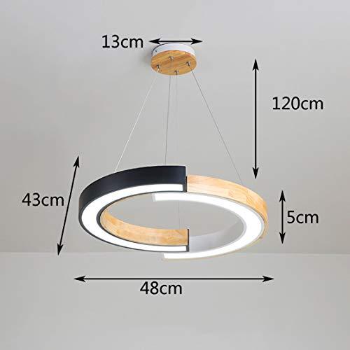 Hölzerne LED Pendelleuchte Runde Ringe Esszimmer Hängelampe Lichtfarbe Verstellbar Schlafzimmer Hängeleuchte Modern Einfache Arbeitszimmer Kinderzimmer Acryl-Schatten Seilzug-Pendelleuchte,A