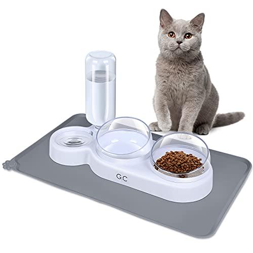 G.C Comedero Gato Elevado, Comederos y Bebederos para Gatos Perros, Cuencos Agua Comida Alimentación Platos para Mascotas, Comedero Interactivo Gatos con Estera