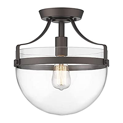 Farmhouse Semi-Flush Mount Ceiling Light - HWH Industrial Ceiling Light Fixture with Clear Glass Lampshade, Close to Ceiling Lighting for Kitchen Bedroom Hallway Dining Room Bathroom, 5HZG13-F ORB