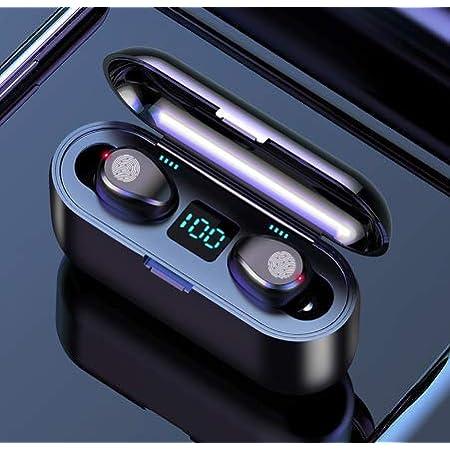 PANFREY Audífonos Bluetooth Inalámbricos, Control Táctil y LED Pantalla, Bluetooth 5.0 Auriculares Deportivos IPX7 Impermeable para iPhone Sony Samsung Huawei LG. (Black)
