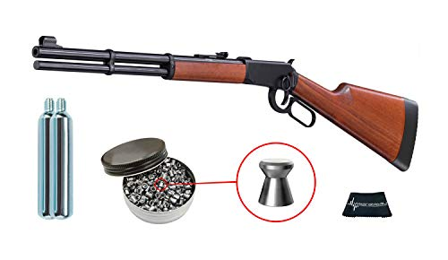 Walther Lever Action CO2 .177 Caliber Air Rifle with Included CO2 90 Gram (2 Pack) and Pack of 500 Pellets Bundle (Pellets Caliber/Weight .177/7.48 Grains) and Wearable4U Cloth