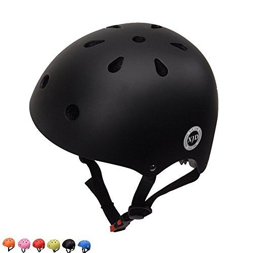 XJD ヘルメット こども用 幼児 子供 軽量 通気性 スポーツ ヘルメット 自転車 サイクリング 通学 スキー バイク スケートボード 保護用ヘルメット (ブラック, S(48cm-54cm))