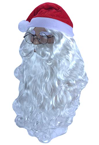 Angelaicos Santa Claus Wig Beard Hat Glasses Set Long White Wig 4 pcs