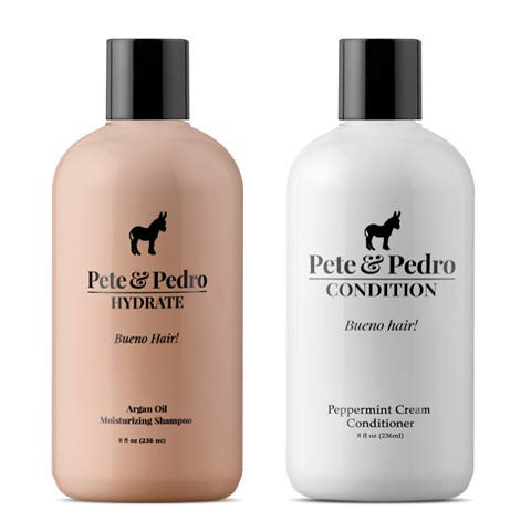 Pete and Pedro Hydrate and Condition Combo | Argan Oil Shampoo and Moisturizing Peppermint Conditioner