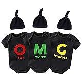 QIANWANYI Bebé trillizos Body OMG Bebé Trillizos Lindo Traje Infantil Tres Bebé Divertido Sombrero Chica Body Set - negro - 3-6 meses