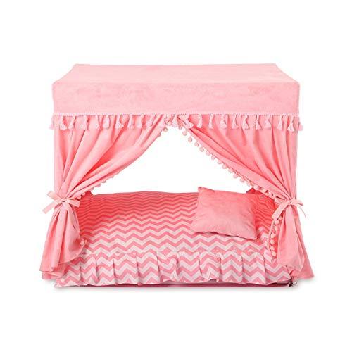 DOGKLDSF Hundebett Hund Welpen Haus rosa schöne Prinzessin Bett für Haustier Quaste Design Katze Hundebett Zwinger für Haustier, S