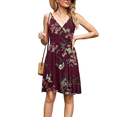 Lenfeshing Vestido de Tirantes sin Mangas con Cuello En V para Mujer Vestido Estampado de Flores, Hojas Y Leopardo Vestido de Playa Sexy