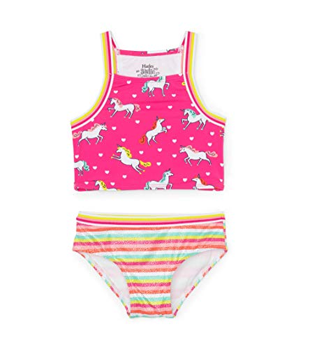 Hatley Mädchen Sporty Sets Tankini, Pink (Prancing Unicorns 650), 7 Jahre