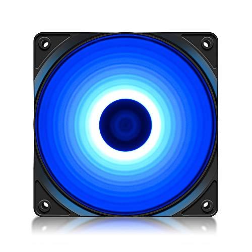 DeepCool RF120 - Ventilador azul de 4 LED azules de 120 mm, silencioso, para ordenador de gaming, 1300 rpm de alto rendimiento, 3 + 4 pines