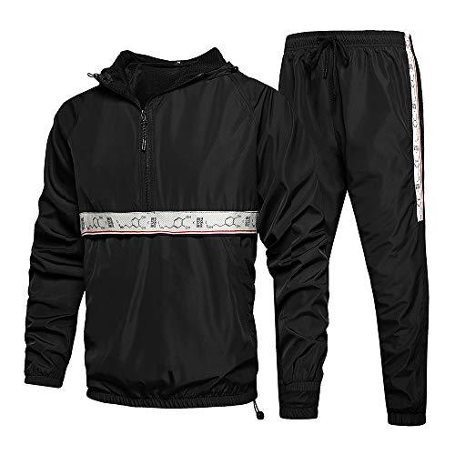 LBL Men's Tracksuit 2 Piece Hooded Sweatsuits Casual Running Jogging Sport Suit Sets Black M
