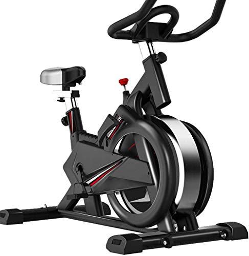 Bicicleta estática para interior con monitor de frecuencia cardíaca, sensor de frecuencia cardíaca, transmisión por correa silenciosa, ideal para entrenamiento cardíaco, color negro
