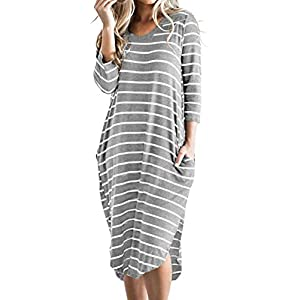 Women's Striped 3/4 Sleeve Casual Oversized T Shirt Boho Midi Dresses...