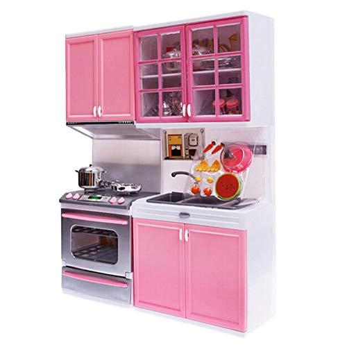 YESS Cocinas De Juguete Para Niños De Sobremesa - Juego De Cocina Rosa Juguetes De Cocina De Plástico - Juegos De Imitación Mini Modern Kitchen Set - 27 X 9.5 X 34.5 CM suitable