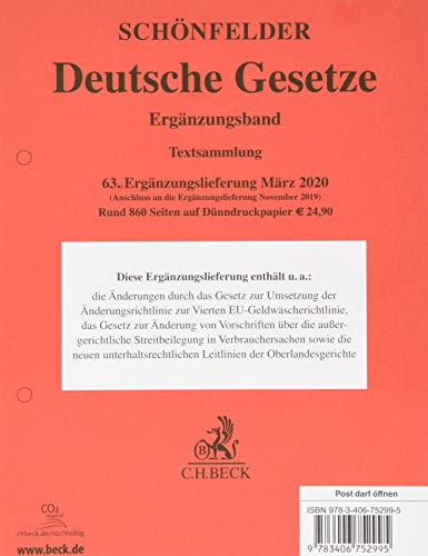 Deutsche Gesetze Ergänzungsband  63. Ergänzungslieferung: Rechtsstand: 1. März 2020, mit Ausnahme der Nrn. 62e, 62g und 62h, Stand: 1. November 2019
