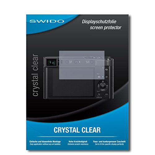 SWIDO Displayschutzfolie für Panasonic Lumix DC-TZ202 [3 Stück] Kristall-Klar, Extrem Kratzfest, Schutz vor Öl, Staub und Kratzer/Folie, Glasfolie, Displayschutz, Schutzfolie, Panzerfolie