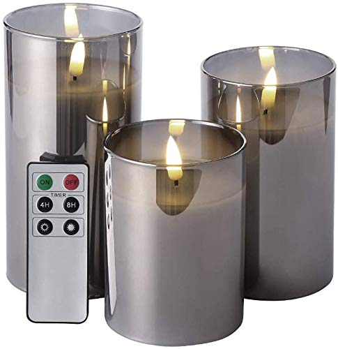Eywamage Smoke Grey Glass Flameless Pillar Candles with Remote D 3' H 4' 5' 6', Flickering LED Battery Candles Unscented 3 Pack