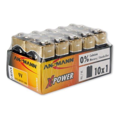 Ansmann 5015711 Alkaline Batterie X-Power,9V E-Block, 10er Display