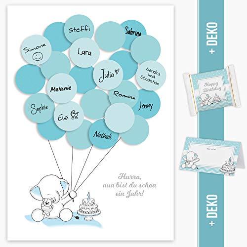 Gästebild 1. Geburtstag, Erster Geburtstag, Geschenk, Gastgeschenk, Deko, Andenken, Idee, Glückwünsche, Fingerabdruck, Erinnerungsstück, zum beschreiben Elefant junge blau