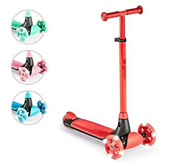 Yvolution Three Wheel Kick Scooter for Kids with LED Wheels Red