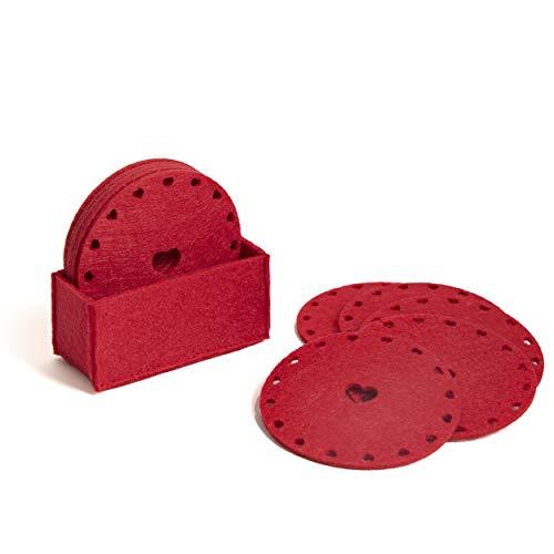 Ocean Home Juego de 10 posavasos de fieltro rojo con forma de corazón para vasos, diseño navideño, posavasos para bebidas, tazas, bares, tazas de regalo, candelabros