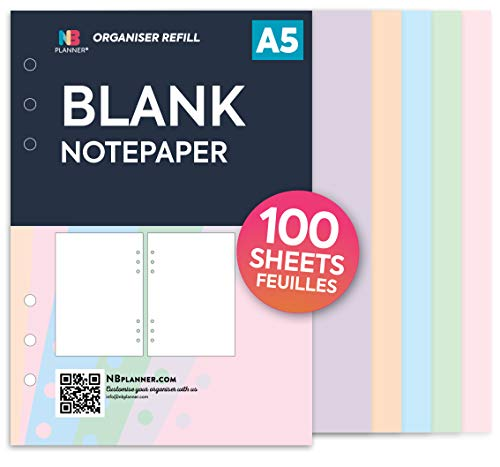 To DO Notizpapier-Nachfülleinlage Filofax A5 kompatibel farbig NBplanner A5: blanko