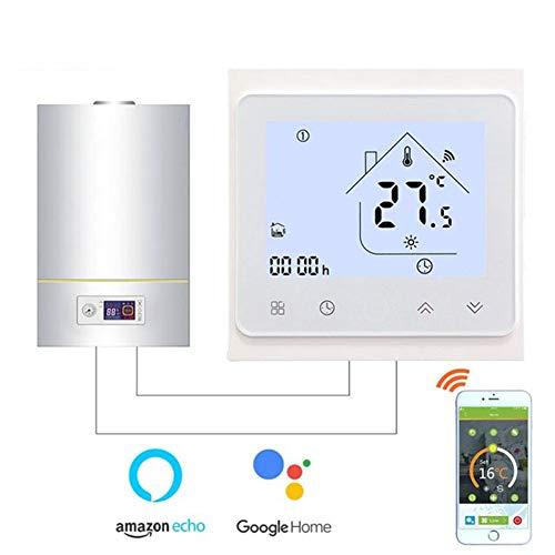 Smart Wandkessel Thermostat, WiFi Zentrale Klimaanlage Thermostat Temperaturregelung Mit Sprach Google Home Control TUYA APP,Weiß